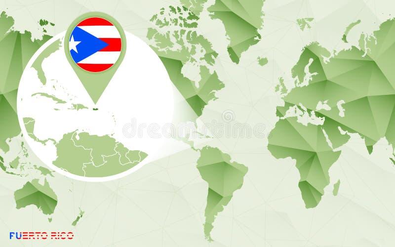 Mapa do mundo céntrico de América com o mapa ampliado de Porto Rico ilustração do vetor