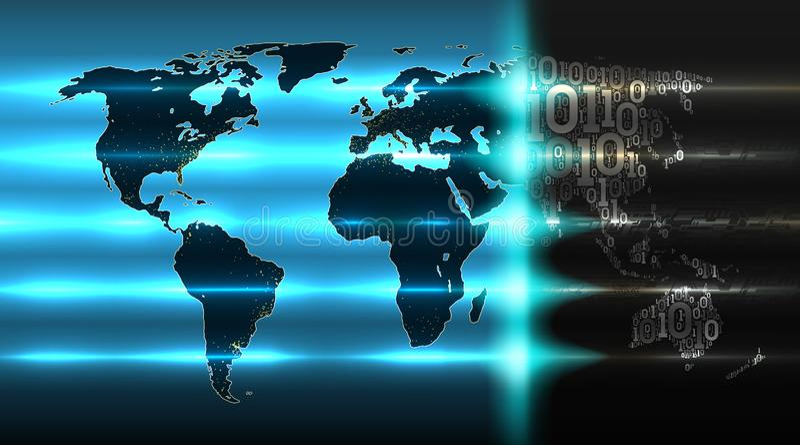 Mapa do mundo do código binário com um fundo do hardware abstrato Conceito da tecnologia digital, serviço da nuvem, Internet das  ilustração do vetor