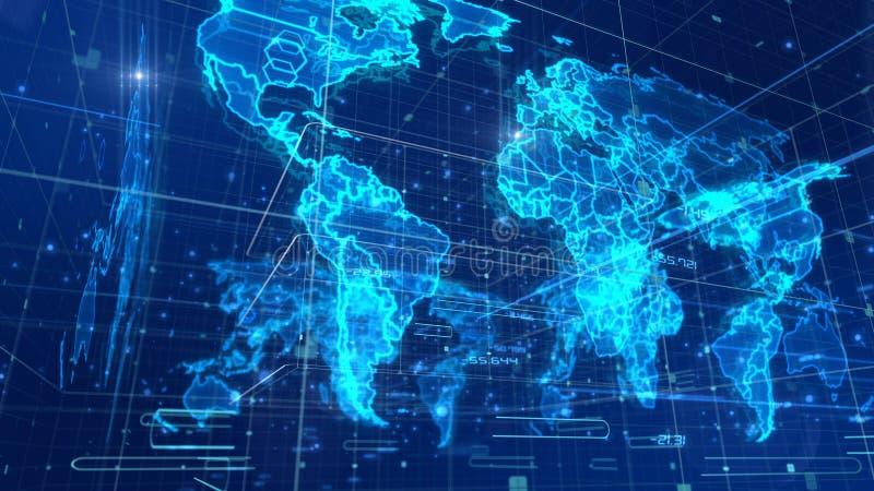 Mapa do mundo cúbico da notícia ilustração royalty free