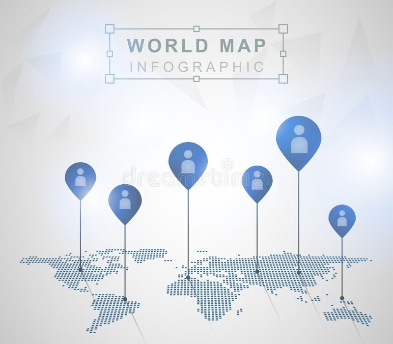 Mapa do mundo claro com marcas do ponteiro ilustração do vetor