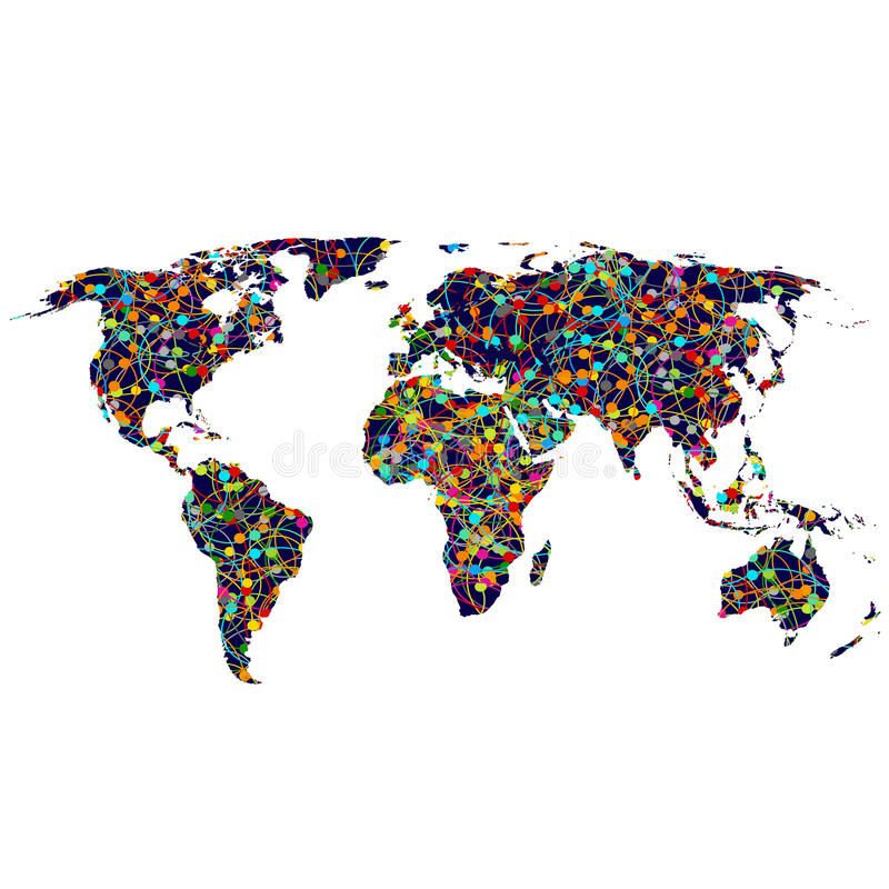 Mapa do mundo colorido da rede ilustração stock