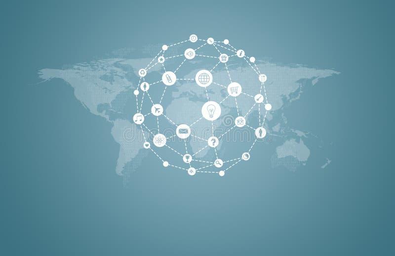 Mapa do mundo com ícones do app ilustração stock