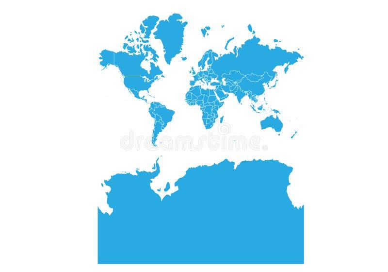 Mapa do mundo com a Antártica Mapa detalhado alto do vetor do mundo com a Antártica ilustração royalty free