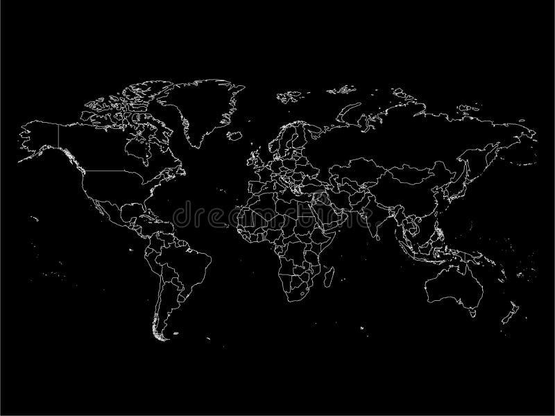Mapa do mundo com beiras do país, esboço branco fino no fundo preto Linha de detalhe alta simples wireframe do vetor ilustração royalty free