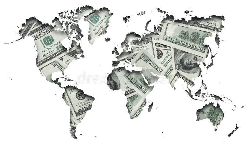 Mapa do mundo com cem dólares de fundo ilustração stock