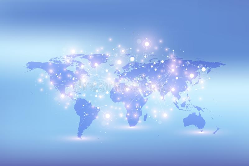 Mapa do mundo com conceito global dos trabalhos em rede da tecnologia Visualização dos dados de Digitas Alinha o plexo Fundo gran ilustração royalty free