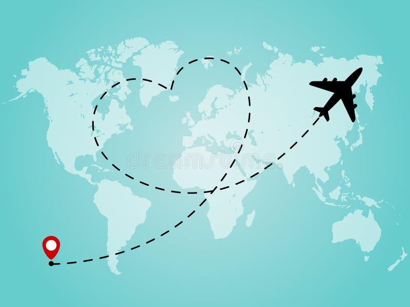 Mapa do mundo com linha trajeto do avião no formulário do coração Conceito romântico e do amor do curso ilustração royalty free