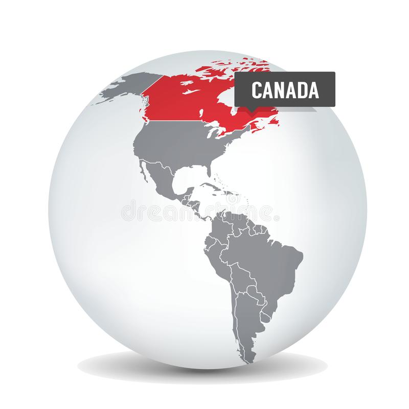 Mapa do mundo com o identication de Canadá Mapa de Canad? ilustração stock