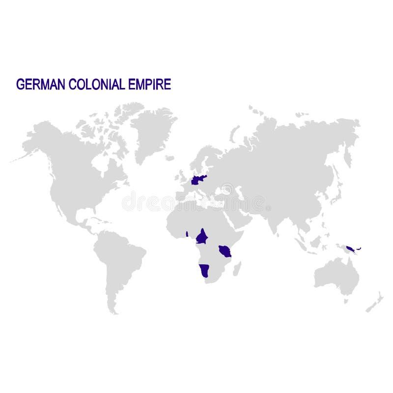 mapa do mundo com o império colonial alemão ilustração do vetor