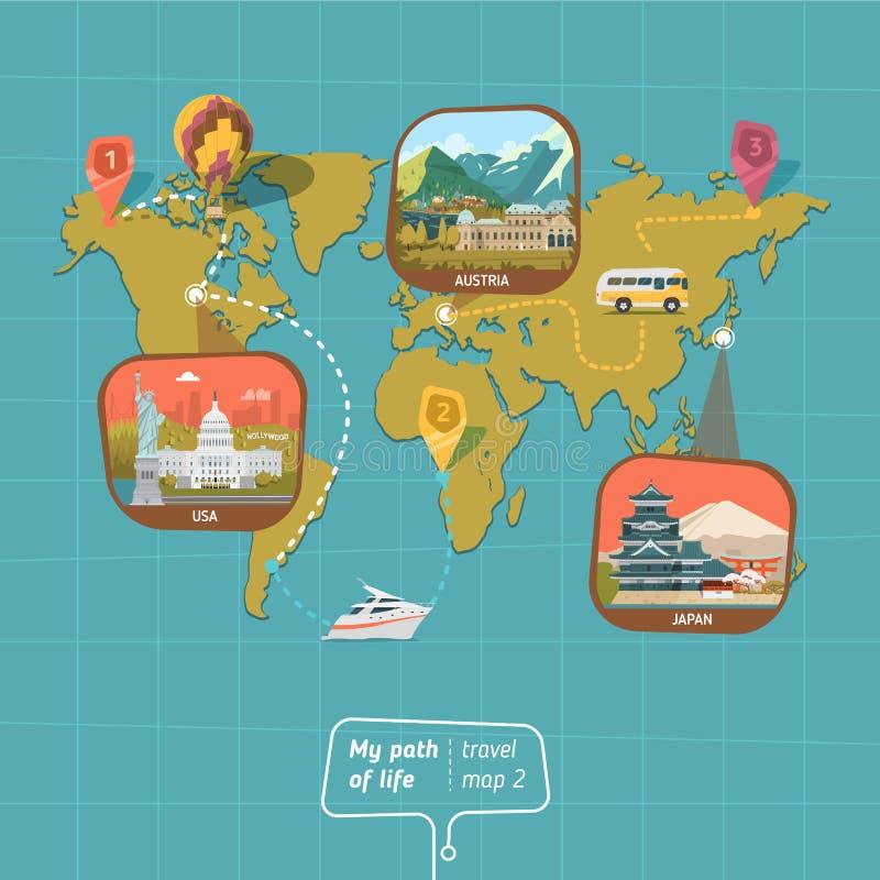 Mapa do mundo com país ilustração stock