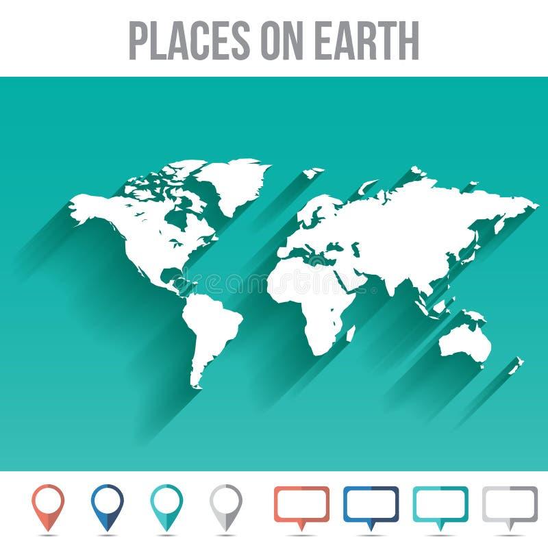 Mapa do mundo com pinos, vetor liso do projeto ilustração stock