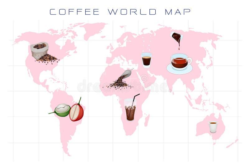 Mapa do mundo com produção e consumo do café ilustração do vetor