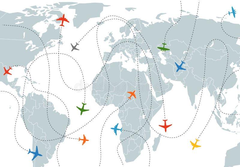 Mapa do mundo com trajetos dos aviões ilustração royalty free