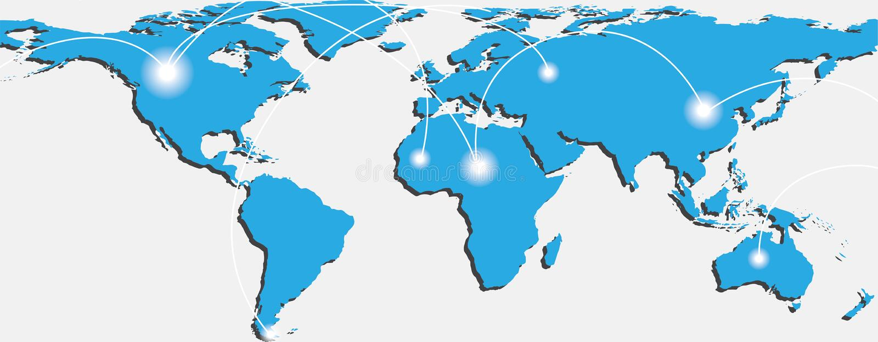 Mapa do mundo com trajetos e pontos de troca ilustração stock