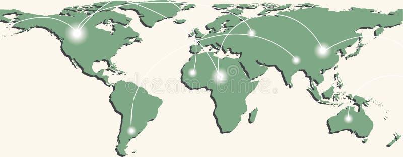 Mapa do mundo com trajetos e pontos de troca ilustração royalty free