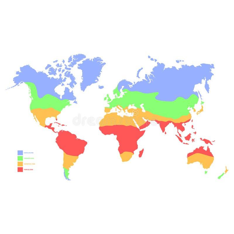 mapa do mundo com zona de clima ilustração stock