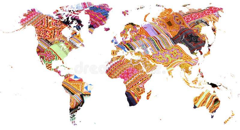 Mapa do mundo cortado em multi telas coloridas vietnamianas fotografia de stock