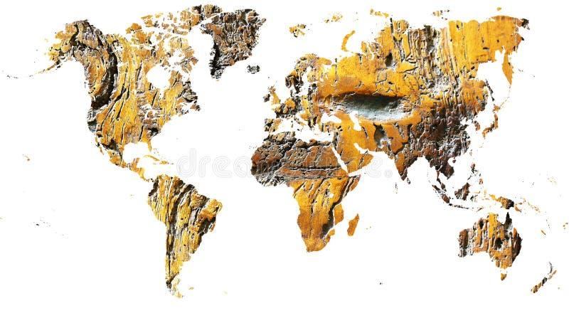 Mapa do mundo cortado na madeira antiga do grunge imagens de stock