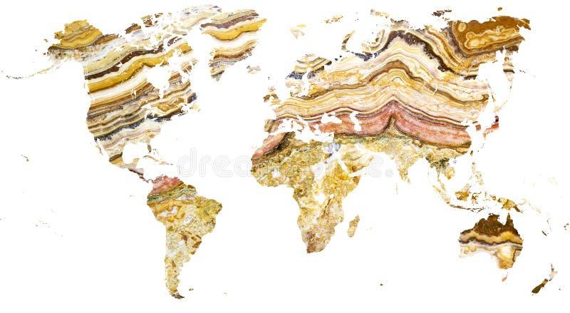 Mapa do mundo cortado no mármore elaborado imagens de stock