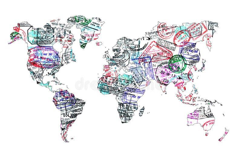 Mapa do mundo criado com os selos do passaporte fotografia de stock