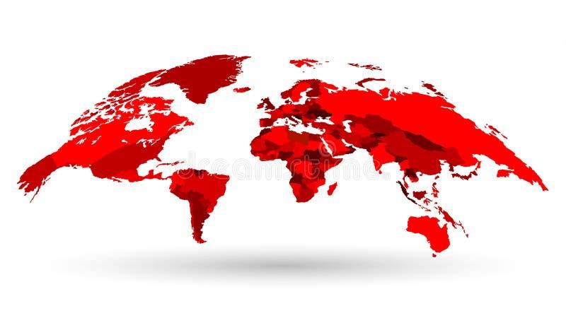 Mapa do mundo 3D luxuoso no vermelho ilustração do vetor
