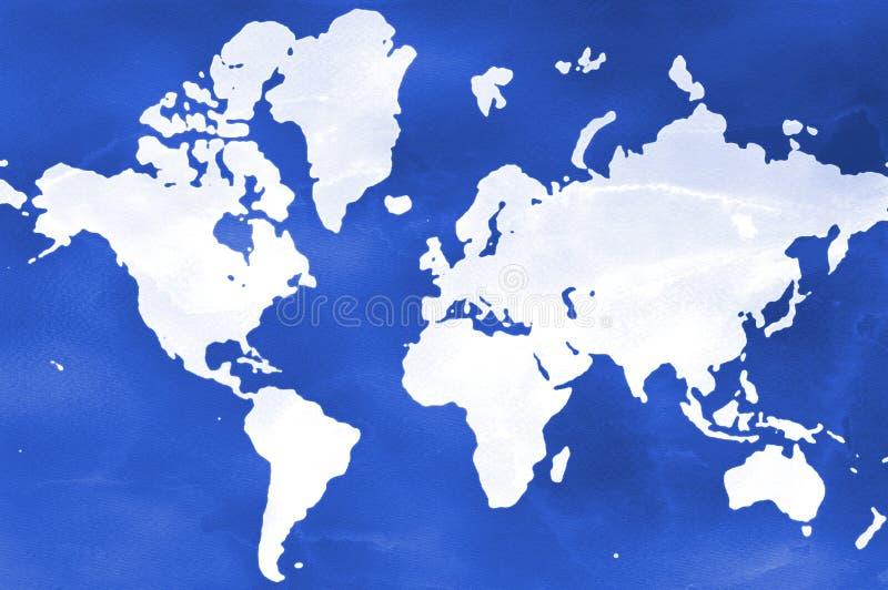 Mapa do mundo da aquarela ilustração royalty free