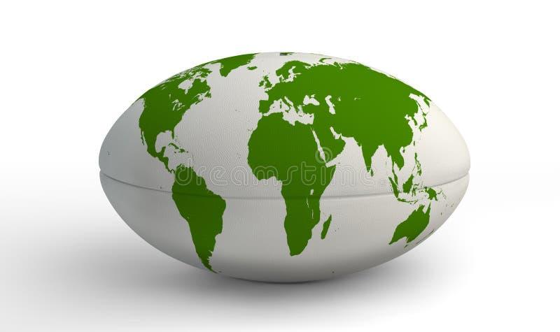 Mapa do mundo da bola de rugby no branco fotos de stock