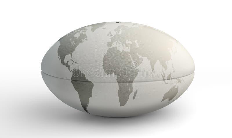 Mapa do mundo da bola de rugby no branco fotos de stock royalty free