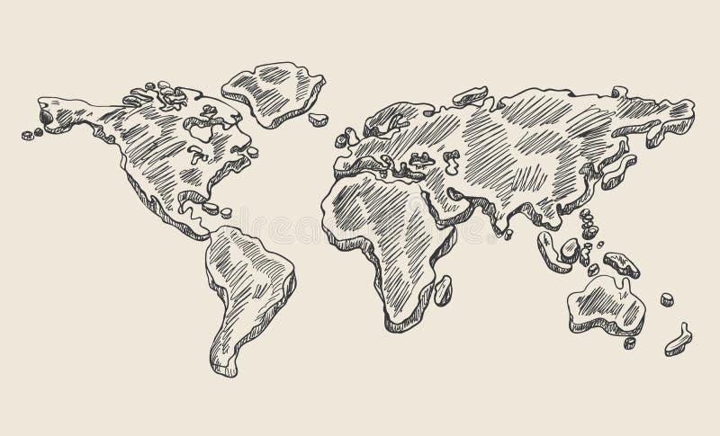 Mapa do mundo da garatuja do desenho da mão Esboço do vetor da terra do vintage ilustração royalty free