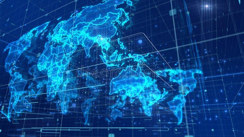 Mapa do mundo da notícia do Cyberspace ilustração do vetor
