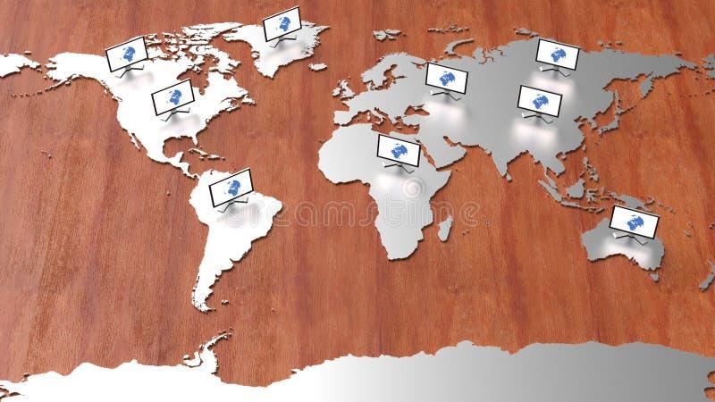 Mapa do mundo da Olá!-tecnologia imagens de stock