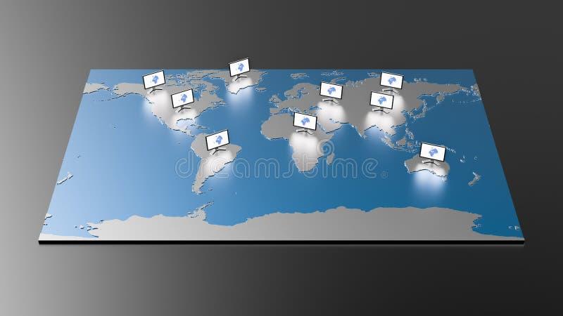 Mapa do mundo da Olá!-tecnologia fotografia de stock royalty free