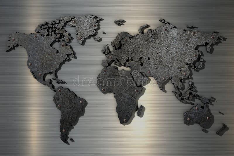 mapa do mundo da rendição 3d do metal riscado velho com rebites ilustração do vetor