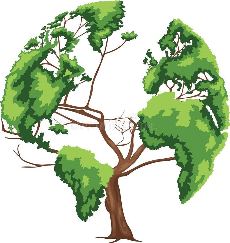 Mapa do mundo dado forma árvore ilustração royalty free