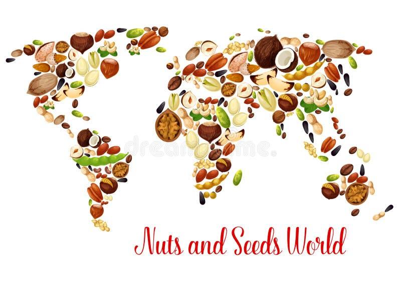 Mapa do mundo das porcas, da semente e do feijão, projeto do alimento ilustração stock