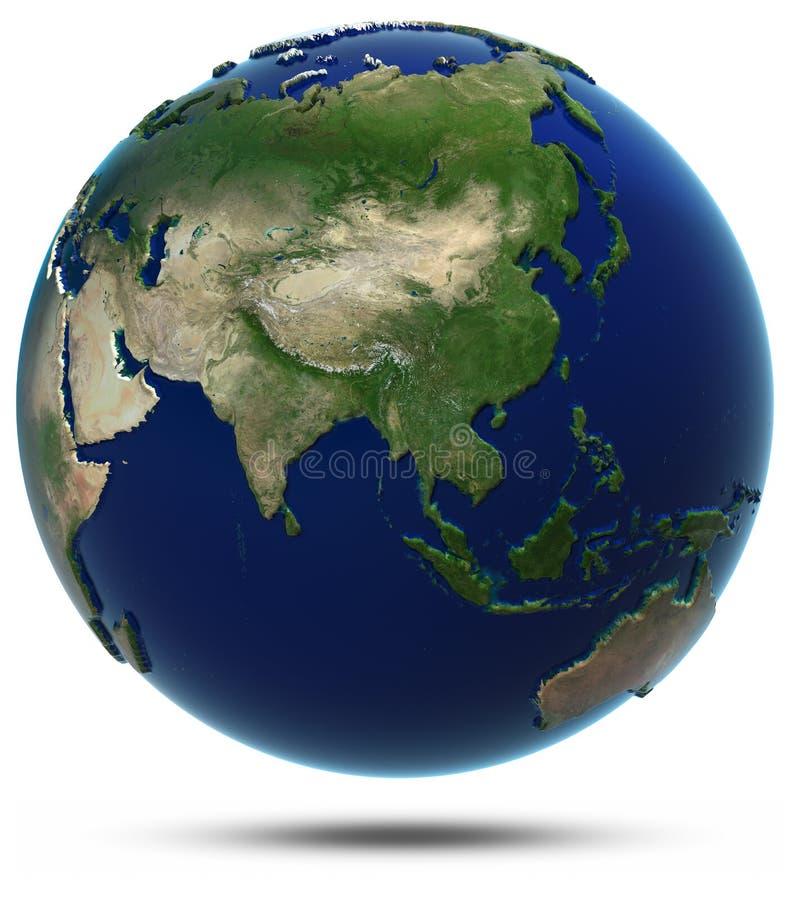 Mapa do mundo de Ásia ilustração do vetor