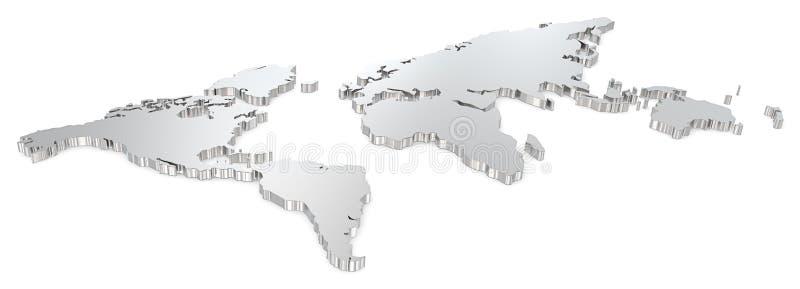 Mapa do mundo de aço ilustração do vetor