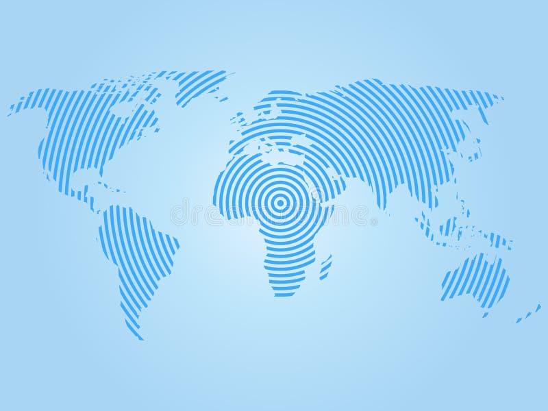 Mapa do mundo de anéis concêntricos azuis no fundo branco Vetor mundial do projeto moderno do conceito das ondas de rádio de uma  ilustração do vetor