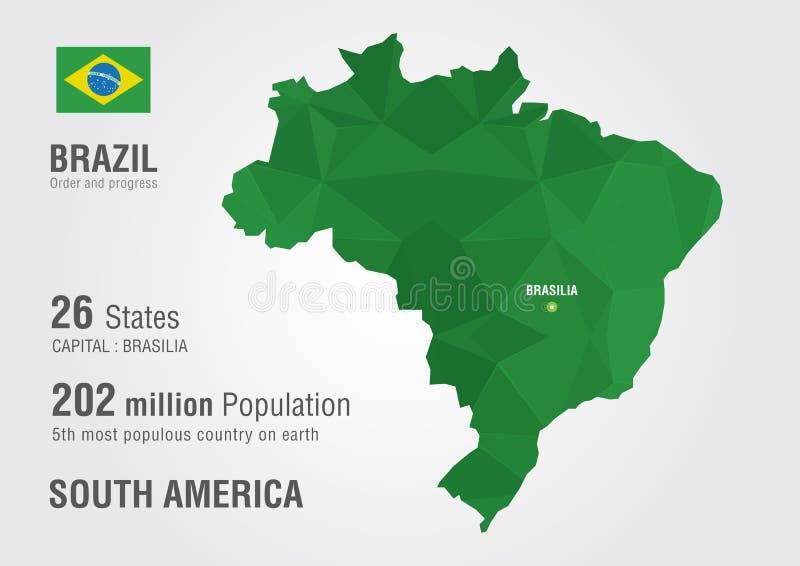 Mapa do mundo de Brasil com uma textura do diamante do pixel ilustração do vetor
