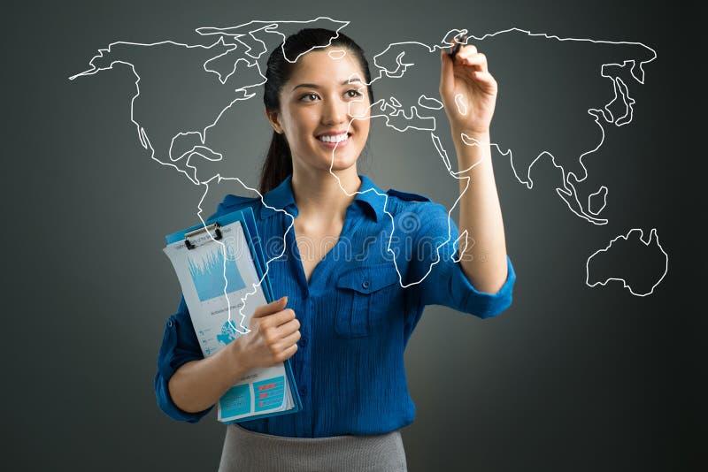 Mapa do mundo de Digitas fotos de stock