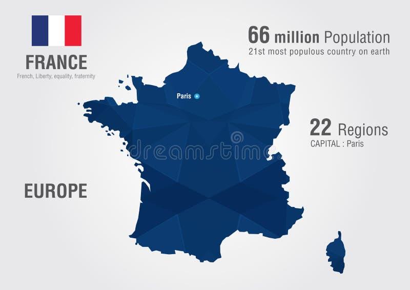 Mapa do mundo de França com uma textura do diamante do pixel ilustração stock
