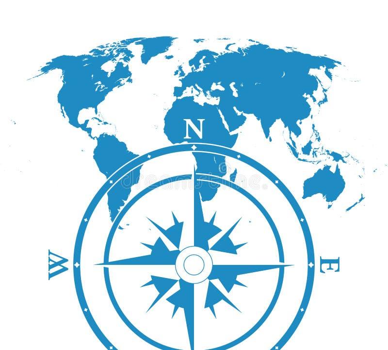 Mapa do mundo de Infographic com compas ilustração royalty free