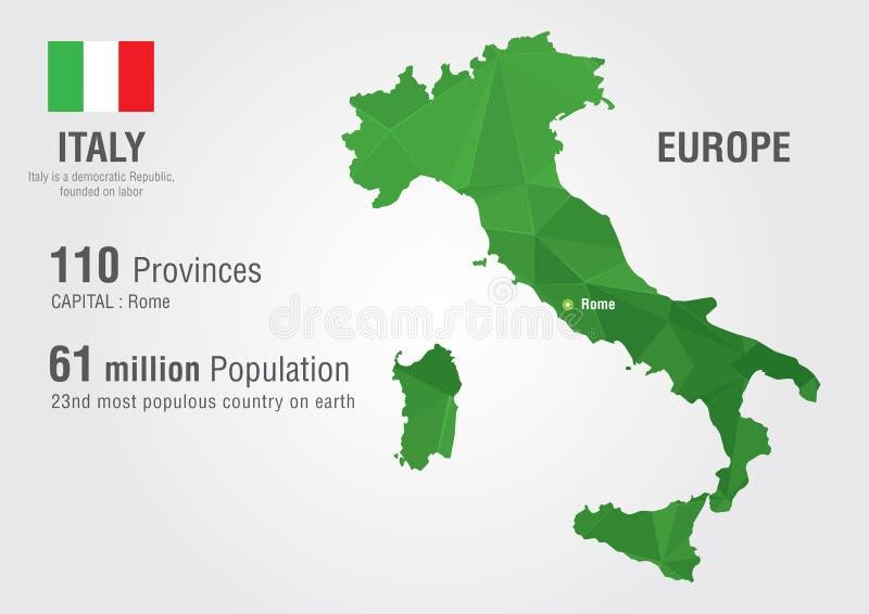 Mapa do mundo de Itália com uma textura do diamante do pixel ilustração royalty free