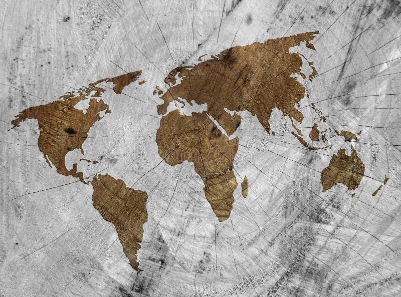 Mapa do mundo de madeira ilustração royalty free