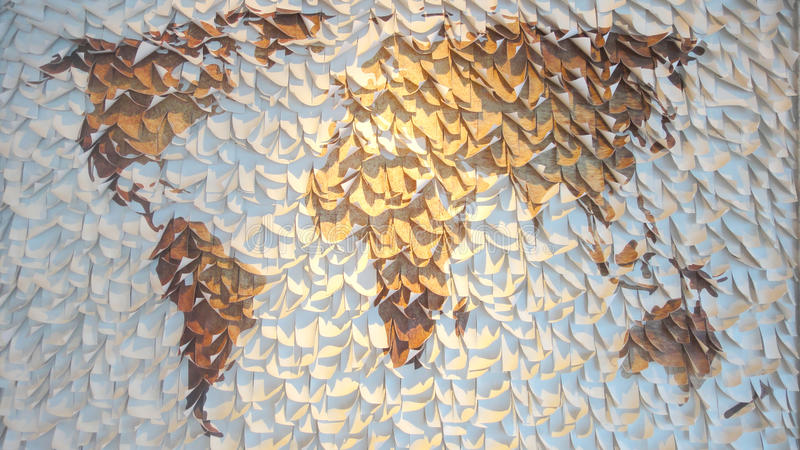 Mapa do mundo de papel imagens de stock royalty free