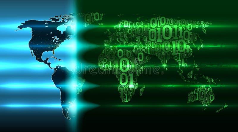 Mapa do mundo de um código binário Conceito da tecnologia digital, serviço da nuvem, Internet das coisas, ilustração grande do ve ilustração royalty free