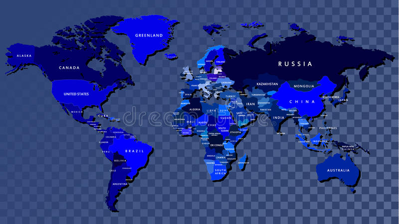 Mapa do mundo detalhado na cor azul gravado ilustração do vetor