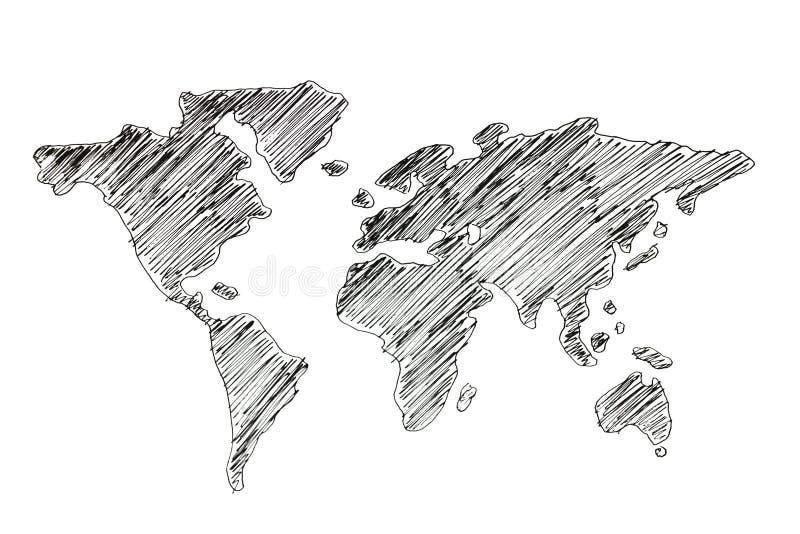 Mapa do mundo do desenho da mão ilustração do vetor