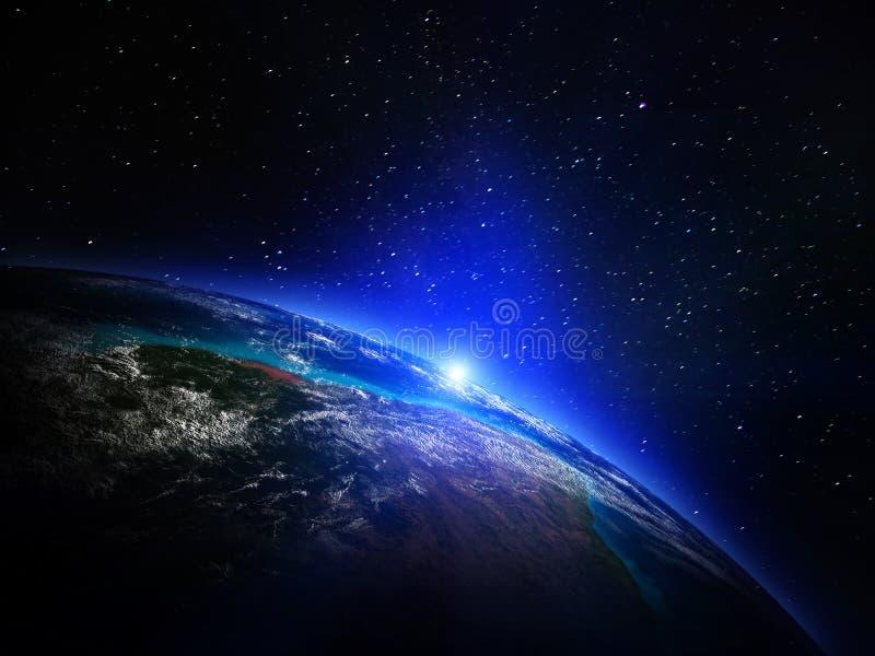 Mapa do mundo do espaço ilustração stock