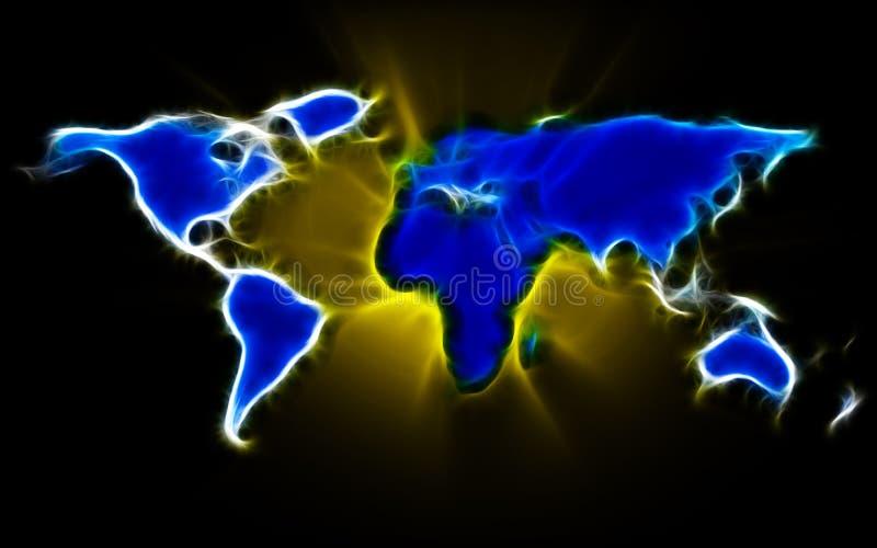 Mapa do mundo do Fractal ilustração royalty free
